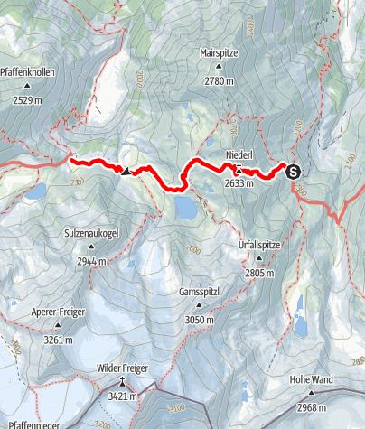 Map / Nürnberger Hütte, Sulzenau Hütte