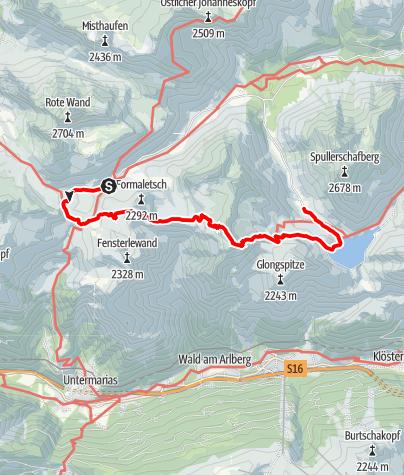 Karte /  Formarinsee - Freiburger Hütte - Gehrengrat