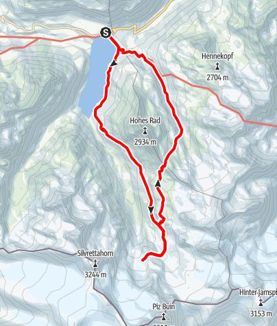 Karte / Silverettatour (See - Grüne Kuppe - Radsattel - See)