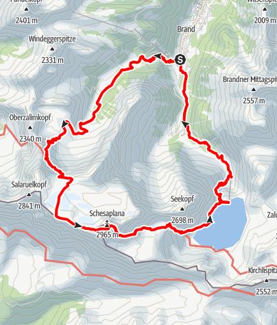Karte / Schesaplana Rundtour (2 Tage) | Brand