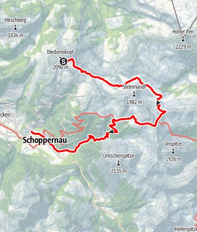 Karte / Au-Schoppernau | Diedamskopf - Schwarzwasserhütte