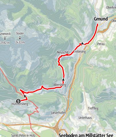Karte / Etappe 10 Alpe-Adria-Trail: Hühnersberg - Künstlerstadt Gmünd