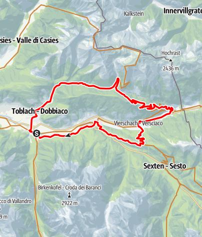 Map / Silvesteralm, Rundtour zur kleinen Alm oberhalb von Toblach