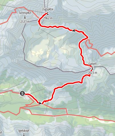 Karte / Von Ehrwald über das Gatterl auf die Zugspitze