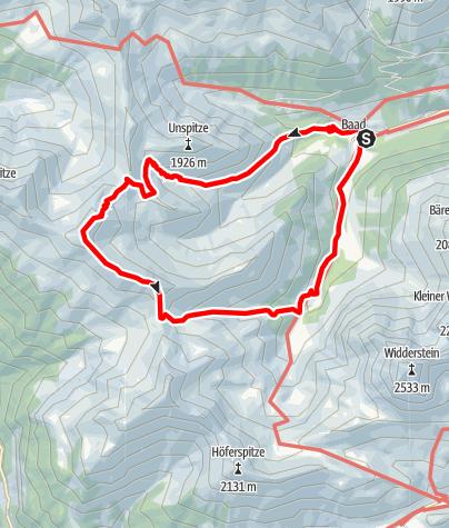 Karte / Güntlespitze mit Abstieg ins Bärgundtal