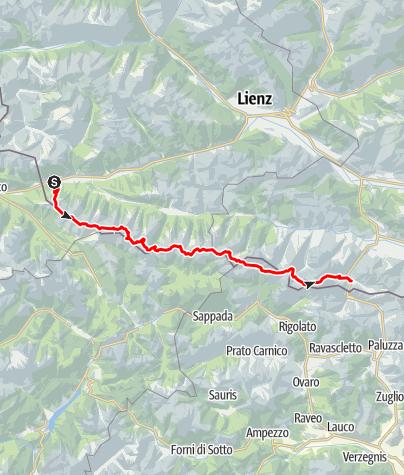Karte / Der Karnische Höhenweg Abschnitt Sillian - Plöckenpass
