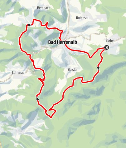 Karte / Dobel -- Teufelsmühle -- Kapelle -- Bernstein -- Bad Herrenalb -- Dobel