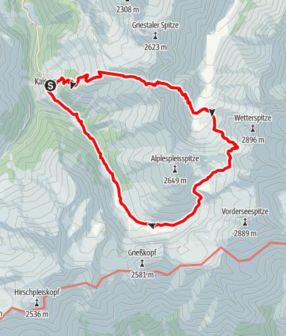 Karte / Edelweißhaus-Frederic-Simms-Hütte- Kälberlahnzujoch -Kaisers