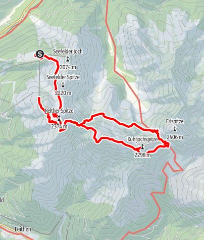Karte / Nördlinger Hütte-Freiungen Höhenweg-Eppzirler Scharte-Urspu,rungsattel