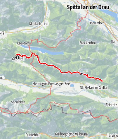 Karte / Gailtaler Höhenweg, Abschnitt Weißbriach-Windische Höhe