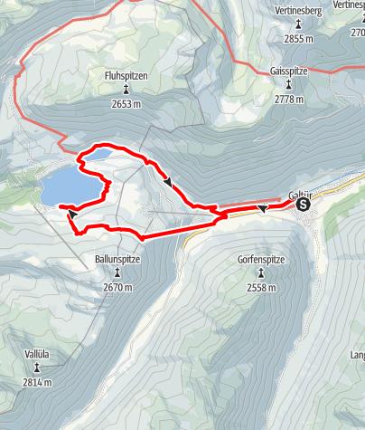 Karte / Birkhahnbahn Bergstation - Kopsstausee - Zeinisjoch - Galtür