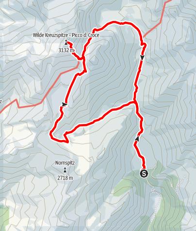 Karte / Von der Fane Alm zur Wilden Kreuzspitze