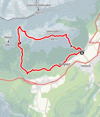 Karte / Gehrenspitze 2.367m  aus Leutasch-Gasse