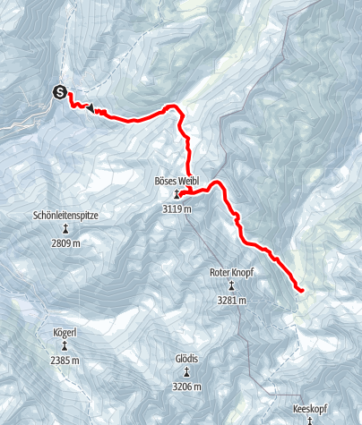 Map / Schober Skitourenrunde: Etappe 1 - Böses Weibl