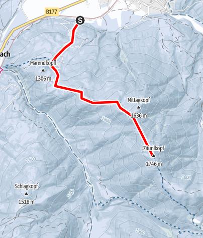 Karte / Mittagkopf und Zäunlkopf von Scharnitz über Mühlberg