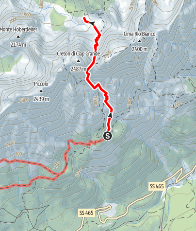 Map / 10 FROM THE DE GASPERI REFUGE TO CADIN DI DENTRO via the forca dell'Alpino - Sappada