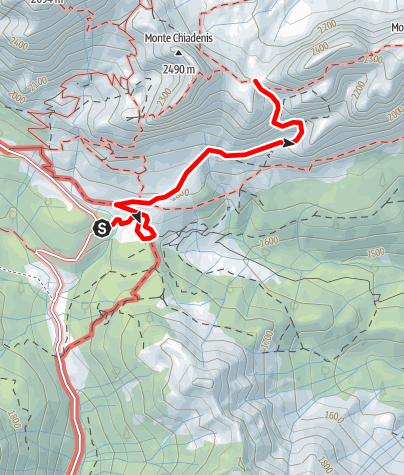 Karte / 35 PASSO DEI CACCIATORI vom oberen Val Sesis - Sappada