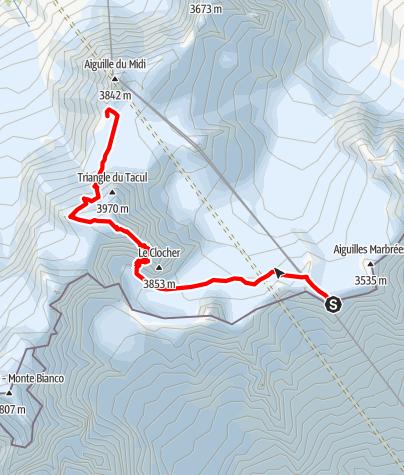 Karte / Teufelsgrat (Arete du Diable) - spektakuläre Grattour auf den Mont Blanc du Tacul