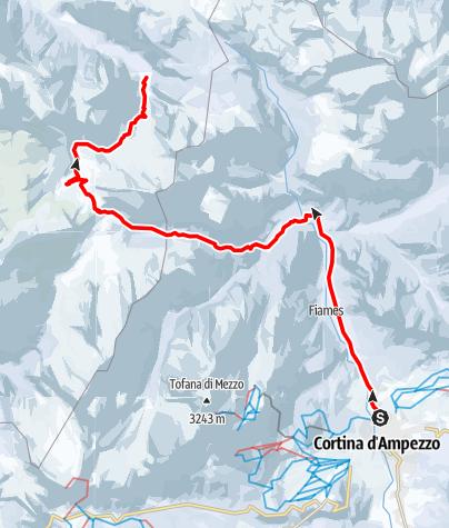 Karte / Ski-Transalp 2014 (Cortina nach Kufstein) Tag1
