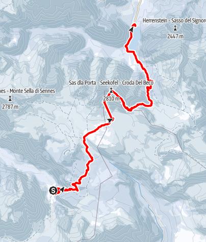 Karte / Ski-Transalp 2014 (Cortina nach Kufstein) Tag2