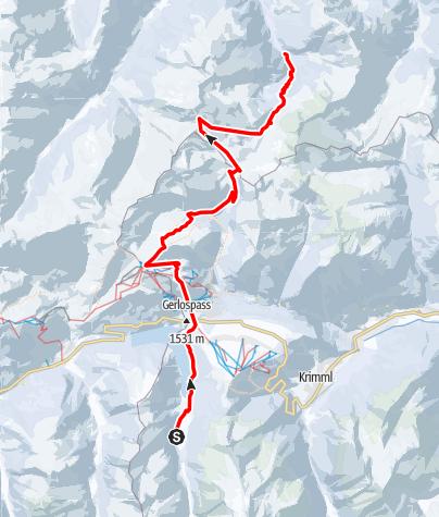 Karte / Ski-Transalp 2014 (Cortina nach Kufstein) Tag5