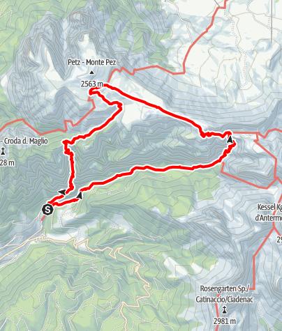 Karte / Bergtour durch das Bärenloch auf den Schlern
