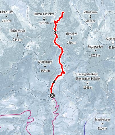 Karte / ORTOVOX Tourentipp: SKITOUR ELLMAUER TOR / HINTERE GOINGER HALT, 2192 M