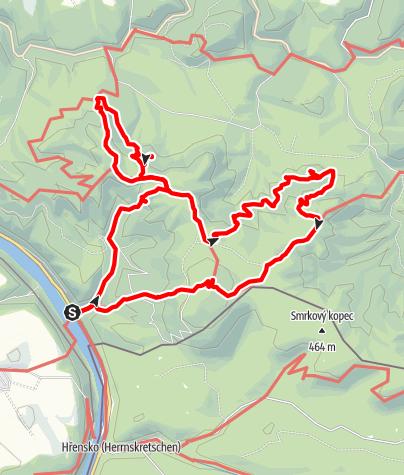 Karte / Schmilka: Affensteine, Klettersteig, hinteres Raubschloss, gr. Winterberg; Wanderung am 10. Mai 2020