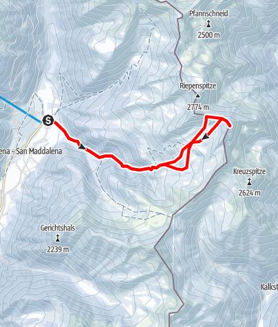 Karte / Schneeschuhtour: Rotlahner in St. Magdalena/Gsieser Tal