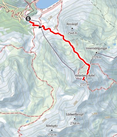 Karte / Bergtour: Hinterbergkofel 2.726m