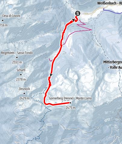 Karte / Skitour zum Gornerberg (Henne) 2.475 m