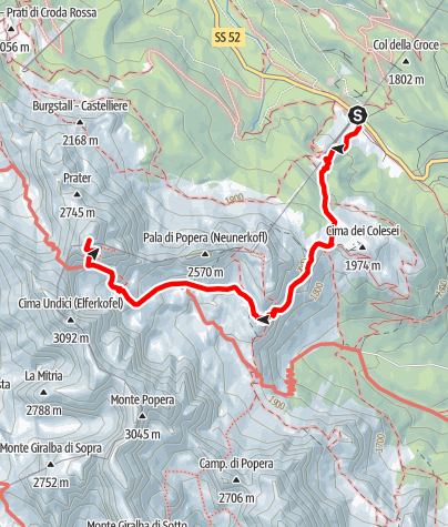 Map / Via Ferrata Zandonella (From the back side to the Croda Rossa)