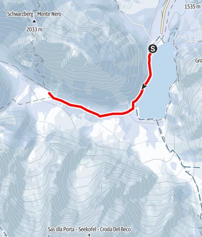 Map / Walking tour with snowshoes - Lago di Braies/ Pragser Wildsee - Val di Foresta/ Grünwaldtal