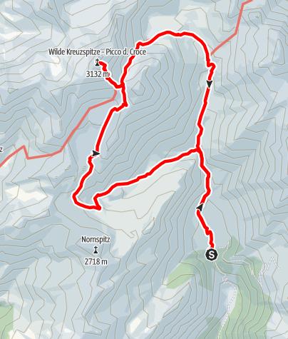 Karte / Bergtour zur Wilden Kreuzspitz