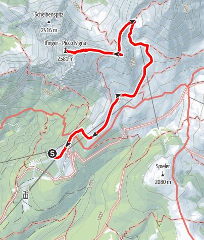 Karte / Gipfeltour zum Ifinger