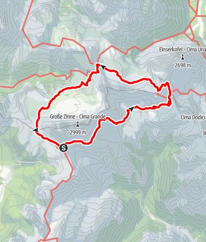 Karte / Ruta circular Tre Cime di Lavaredo y monte Paterno
