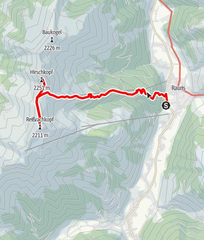 Karte / Rauris: Kreuzboden - Waldalm - Hirschkopf - Reißrachkopf Nr. 124