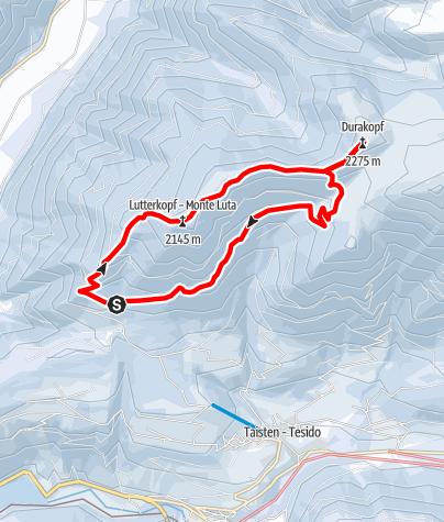 Karte / Schneeschuhtour: Lutter- und Durakopf in Taisten