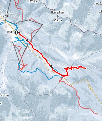 Map / Winter Hike - Moos -  Kreuzbergpass- Coltrondo Alm