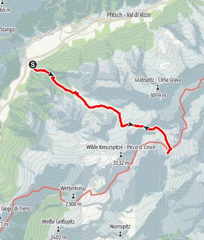 Karte / Über das Sandjoch zur Brixner Hütte