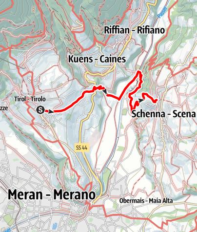 Mappa / Escursione da Tirolo a Scena
