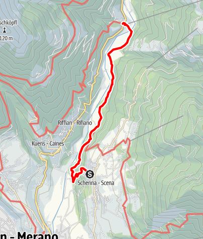 Karte / Von Schenna über den Maiser Waalweg nach Saltaus