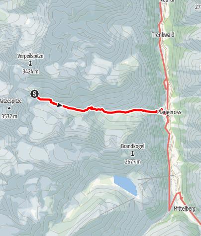 Map / Die Pitztaltour - Tag 4: Der gemütliche Abstieg von der Kaunergrathütte ins Tal nach Plangeroß