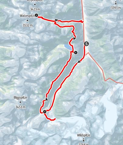 Karte / Die Pitztaltour - Eine entspannte Vier-Tages-Tour mit impossanter Gletscherkulisse und Hochgebirgsfeeling