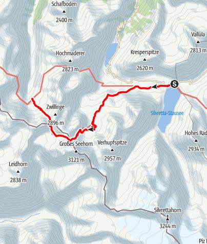 Karte / Montafoner Hüttenrunde - Etappe 4: Bielerhöhe - Saarbrücker Hütte - Tübinger Hütte
