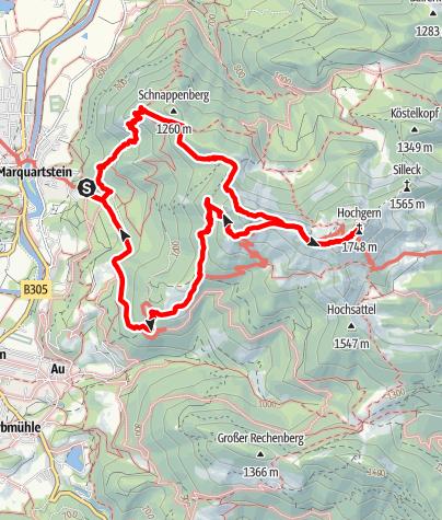 Karte / Überschreitung  Schnappenberg-Hochgern