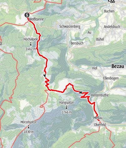 Karte / Schwarzenberg | Bödele - Mellau