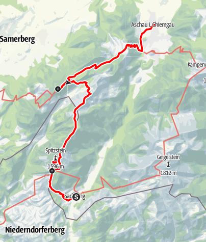 Karte / Bus&Bahn Tour: Überschreitung von Spitzstein und Hochries (Gesamtbeschreibung)