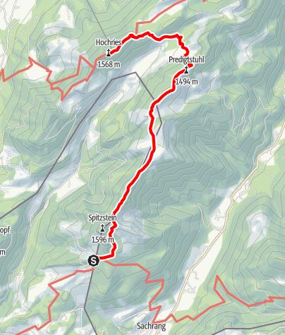 Karte / Bus&Bahn Tour: Überschreitung von Spitzstein und Hochries (Etappe 2)