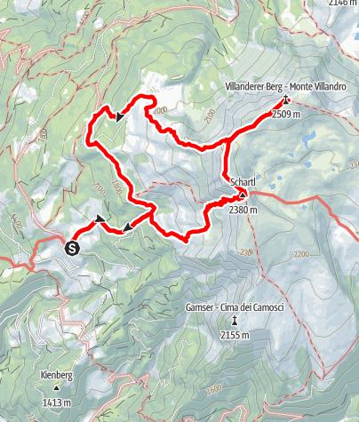 Karte / Sarner Scharte und Villanderer Berg